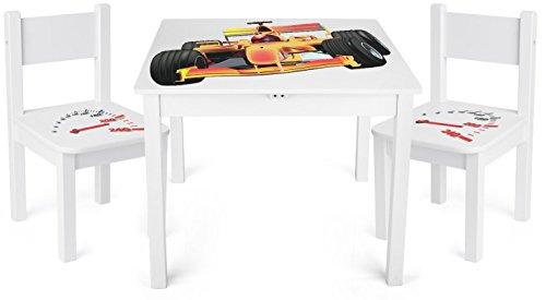 Leomark Weiß Kindertisch und 2 Stühle aus Holz - F1 Formel YETI - Tisch Kinderstuhl für Kinder, Kindersitzgruppe, Sitzgruppe mit UV Aufdruck, Mehrfarbig Tischgarnitur, Dim: 60x60x49 (H) cm