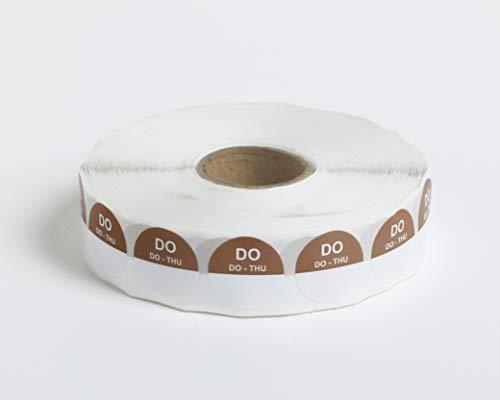 Set van 5 Rollen - 2000 HACCP Labels op 1 rol - 10.000 in totaal - donderdag - bruin - ronde dagstickers 19 mm, schrijfbaar. Plakt op elke ondergrond, voor etenswaren koelkast en vriezer, houdbaarheidsdatum,THT