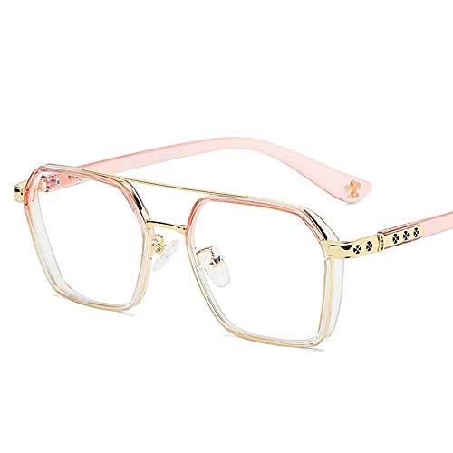 SHENSHI Gafas Luz Azul,Gafas Unisex De Moda De Doble Haz Antiazules, Polígono Antideslumbrante Alivia La Fatiga Ocular, Gafas para Juegos De Computadora para Mujeres/Hombres, Rosa