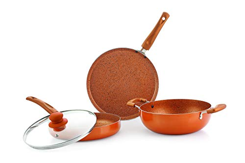 Nirlon Ultimate 4-Piece Aluminium Non Stick Induction Cookware Gift Set with Glass Lid, Copper