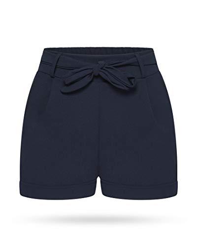 Kendindza Damen Sommer Shorts | Kurze Hose mit Schleife zum binden | Bermuda | Uni-Farben (L/XL, Blau)