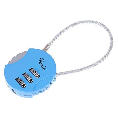 ZSDFW, lucchetto a combinazione per lucchetto per valigie, armadietti, palestra, antifurto, colore: blu