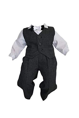 Taufanzug Baby Junge Kinder Kind Taufe Anzug Hochzeit Anzüge Festanzug, 4tlg, K11H/3, Grau-Weiß, Gr.86