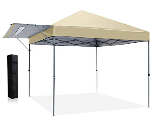ABCCANOPY 3x3 Pop Up Gazebo Fully Waterproof Heavy Duty Canopy Instant Shelter With Adjustable Half Awnings, Bonus Weight Bags.(Beige)