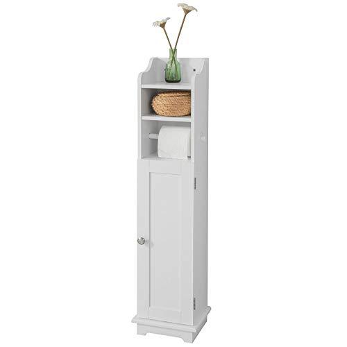 SoBuy FRG177-W, White Free Standing Wooden Bathroom Toilet Paper Roll Holder Storage Cabinet