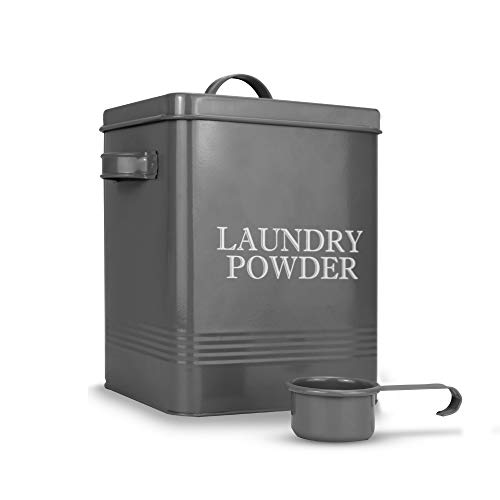 Lata de polvo de lavandería con cuchara | Contenedor de detergente gris para lavavajillas | Suministros de limpieza y lavado | Caja de acero revestido con tapa | Llevar asas | M&W