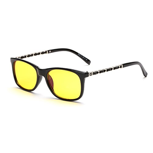 Cyxus(シクサズ)青色光カットメガネ 紫外線防止 視力の保護 眼精疲労低減に [金属鏡の足] 軽量 復古 ファッション ブラック 男女兼用