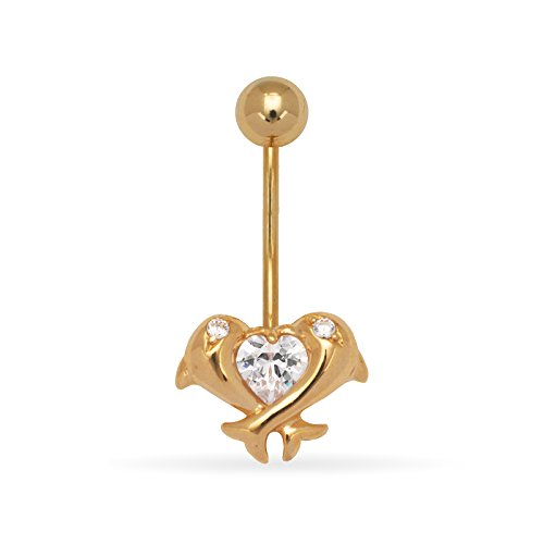 14k Yellow Gold CZ Cubic Zirconia Simulated Diamond 14 Gauge Dangling Dolphins Body Jewelry Belly Ring Measures 24x11mm Jewelry Gifts for Women