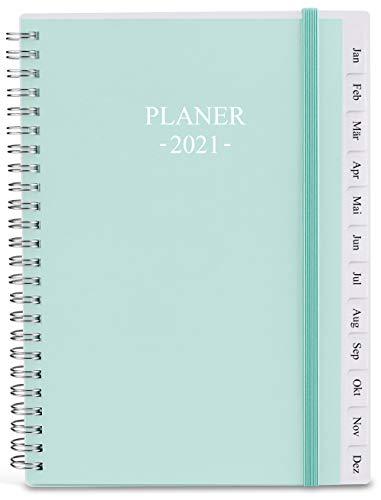 2021 Tagebuch, A5 Wochenplaner mit Monatsregistern, Gesäßtasche, elastischer Verschluss, flexibler Einband, Doppeldrahtbindung, einfache Organisation des täglichen Lebens, 14,8×21cm, Krickente