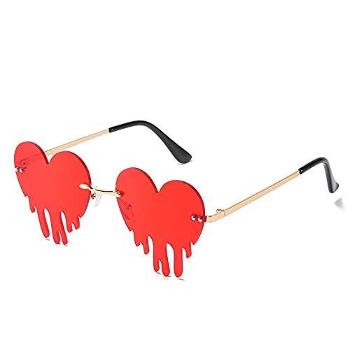 Gafas De Sol Gafas De Sol Rojas con Forma De Corazón Y Amor para Mujer, Gafas De Sol De Metal, Sin Montura, para Hombre, Nuevas Tendencias, Gafas De Moda De Fiesta De Lujo C07