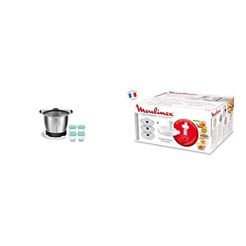 Moulinex xf387e, mini ciotola per cuocere, 1,4 l, nero, 4 barattoli di vetro & xf3831 accessorio taglia verdura per cuisine companion, 3 dischi, 5 funzioni