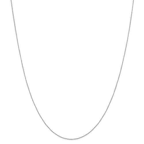 JewelryWeb Collar de cadena de oro blanco de 14 quilates de 0.42 mm de 13 cm