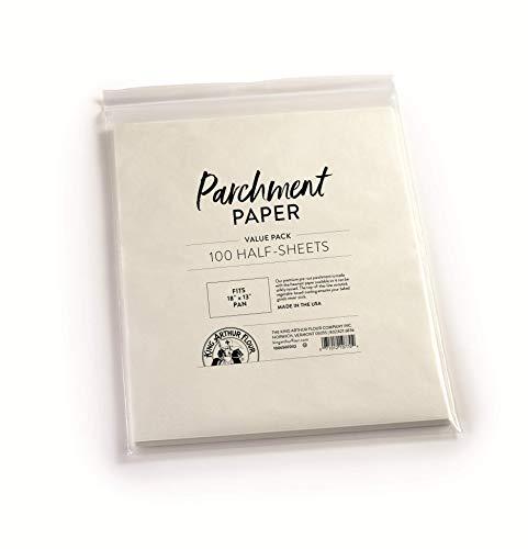 King Arthur, Pre-Cut Baking Parchment Paper, Heavy Duty, Professional Grade, Nonstick, Reusable, Resealable Pack, Fits 18' X 13' Pan, 100 Count