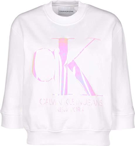 Calvin Klein Jeans Damen Iridescent Monogram Crew Neck Sweatshirt, Weiß (Bright White Yaf), 32 (Herstellergröße: X-Small)