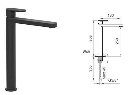 Grifo mezclador lavabo alto Ponsi Versilia negro sin desagüe