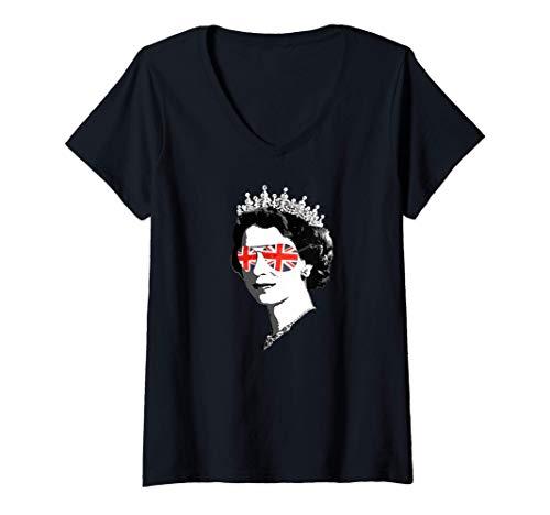 Damen Queen Elizabeth II Sonnenbrille - Britisch Meme T-Shirt mit V-Ausschnitt