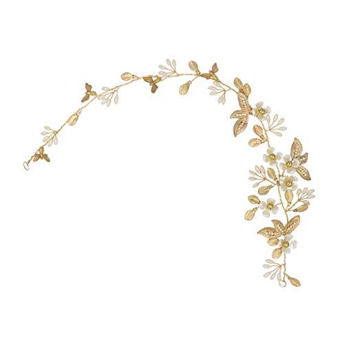 Colcolo Bridal Pearls Crown Bandeau Party Gold Tone Hair Band Hair Clip Headwear