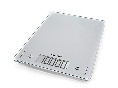 Soehnle Page Comfort 300 slim, digitale Küchenwaage, silber, Gewicht bis zu 10 kg (1-g-genau), runde Haushaltswaage mit Sensor-Touch, elektronische Waage inkl. Batterien, ultraflaches Design