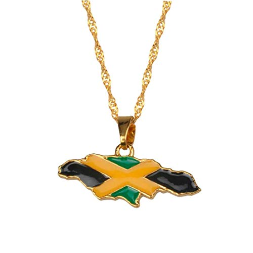 Aisoway Jamaica Map National Flag Pendant Necklace Gold Color Jewelry Jamaican Gifts