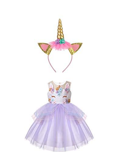 thematys Wunderschönes Einhorn Kleid Kostüm-Set für Mädchen - perfekt für Fasching, Karneval &...