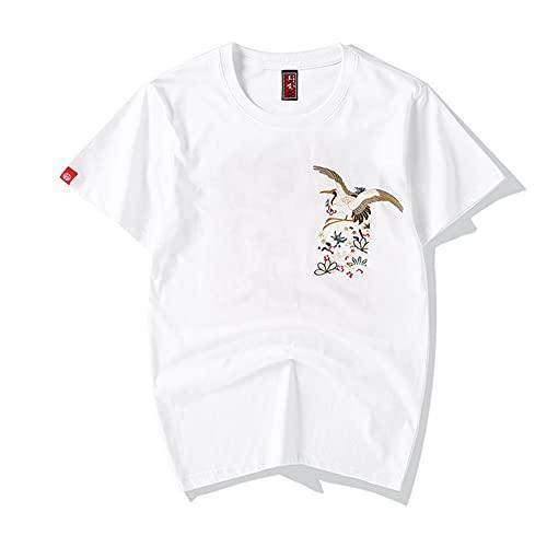 YaNanHome Camisetas para Hombre, Estampado De Patrones Ins, Manga Corta para Parejas, Nuevo Cuello Redondo Estampado De AlgodóN Suelto, Manga Corta, TamañO Grande/White/XL