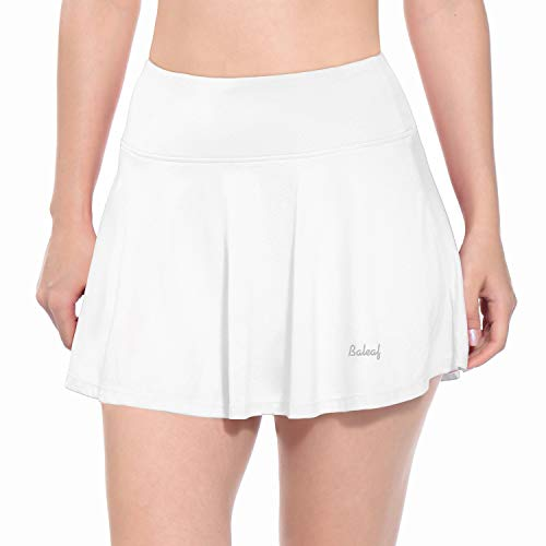 BALEAF Women's Athletic Golf Skirt Tennis Skort Pleated with Pockets White Size L