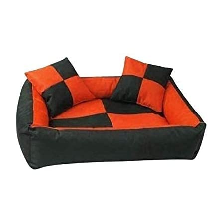 Gorgeous Quilted Reversible Ultra Soft Dual Sofa-Style Dog Bed with 2 Extra Pillow (Orange and Black, Medium)