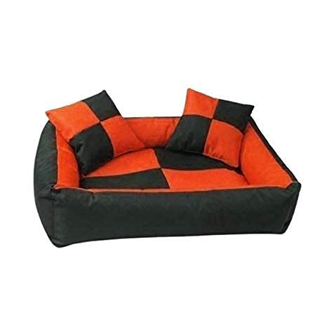 Gorgeous Quilted Reversible Ultra Soft Dual Sofa-Style Dog Bed with 2 Extra Pillow (Orange Black, Large)