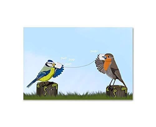 Kinderzimmer Kunst für Kinder Poster Hellblau Rotkehlchen und Blaumeise mit Schnabel-Nasen-Schutz Vogel Zeichnung auf Premium Fotopapier