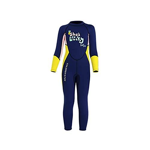 HYZXK Traje de Neopreno para niña - Espesor 2.5 Mm, Protección Solar UPF50 +, Traje de Neopreno de una Pieza de Manga Larga para niños, Traje de natación con Cremallera en la Espalda, Ad