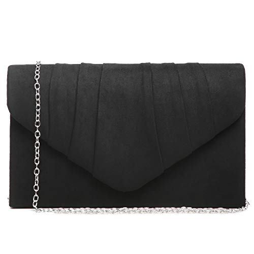 Dasein Womens Evening Bag Velvety Pleated Envelope Clutch Handbag Wedding Party Bridal Purse (Black)