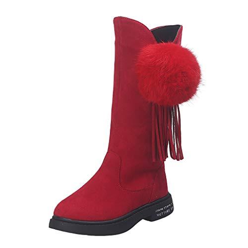 HDUFGJ Mädchen Stiefel Plus Samt Warm Mittlere Stiefel Booties Schneeschuhe Baumwollstiefel Wasserdicht Outdoor Wanderhalbschuhe Trekkingschuhe Chelsea Boots Stiefeletten Gummistiefel 32.5 EU(rot)