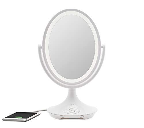 "iHome Beauty Vanity Mirror with Bluetooth Audio, USB Charging, LED Lighting, Siri& Google Support (White, 6"")"