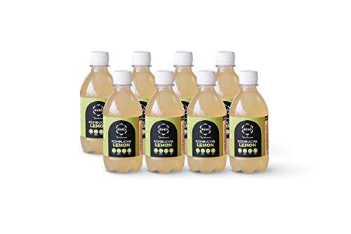 DRINK6 - Caja Kombucha de Limón, Bebida Natural, Saludable y Refrescante. Mezcla de Té verde, Hierba Limón y Lapacho, Sabor Cítrico Reconstituyente, Pack de 8 Botellas de 330 Mililitros Cada Unidad