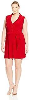 Star Vixen Women's Plus-Size Sleeveless Faux-Wrap Dress