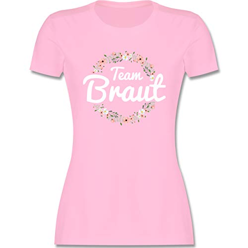 JGA Junggesellenabschied Frauen - Team Braut Blumenkranz - L - Rosa - junggesellenabschied Frauen Team Braut Blumenkranz - L191 - Tailliertes Tshirt für Damen und Frauen T-Shirt