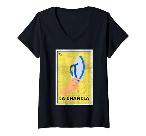 Mujer Mexicano La Chancla Lotería Regalo Tradicional El Flip Flop Camiseta Cuello V