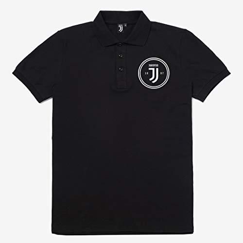 Juventus Polo Nera con Logo Bianco - Collezione 2020/2021-100% Originale - 100% Prodotto Ufficiale - Uomo - Scegli la Taglia (Taglia XL)
