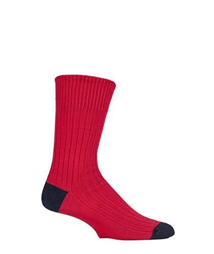 SockShop de Londres Hommes 1 paire de c�tes chaussettes en coton contrastant pointe-talon 12-14 Hommes brigade