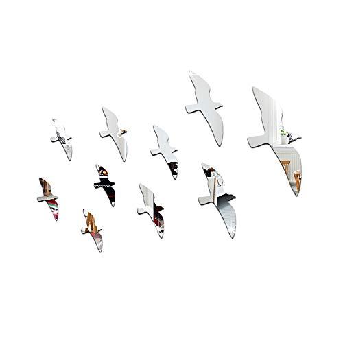 Merssavo 10 Pcs 3D Möwen Wandaufkleber Kunst Aufkleber Home Decor PVC abnehmbare Möwen Dekor Spiegel Wandaufkleber (Silber)