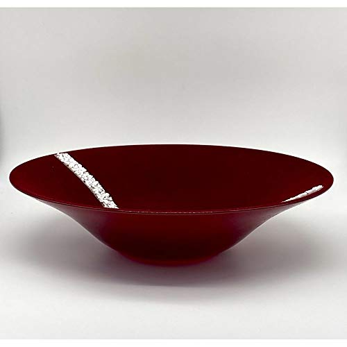 A&D Messico - Centro de mesa de cristal revestido de terciopelo burdeos, 38 cm, fabricado en Italia