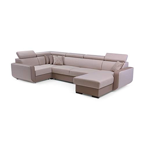MOEBLO Ecksofa mit Schlaffunktion Eckcouch mit Bettkasten Sofa Couch U-Form Polsterecke Maxim (Cappuccino, Eckosfa Rechts)