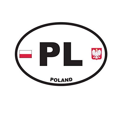ION Graphics Magnet Poland Oval Magnetic Vinyl Polish Country Code Euro PL v2 5' Car Magnet Bumper Sticker