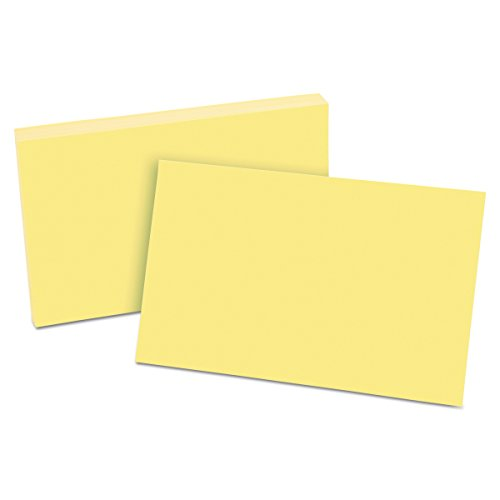 "Oxford Blank Color Index Cards, 5"" x 8"", Canary, 100 Per Pack (7520 CAN)"