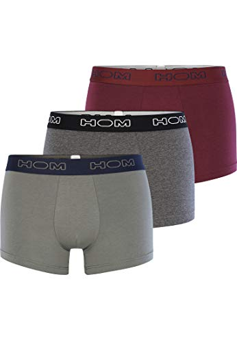 HOM - Herren - 3-Pack Boxer Briefs 'Boxerlines #1' - hochwertige Retroshorts - Grey/Khaki/Burgundy - L