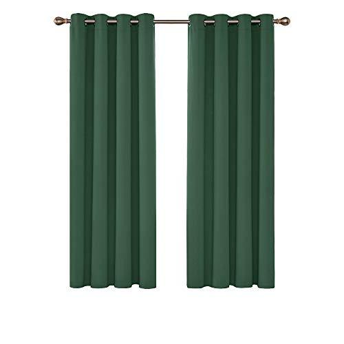 Deconovo Blickdichter Vorhang Grdinen Ösen Verdunkelungsvorhang Wohnzimmer 214x132 cm Waldgrün 2er Set