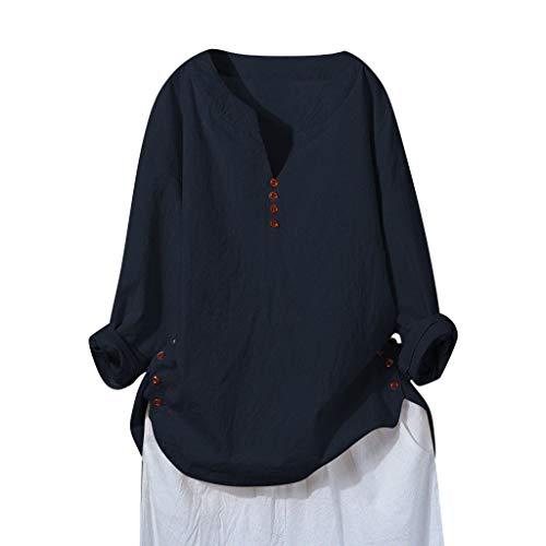 Tooth Langarmshirt Damen, Sommer Herbst Mode Damen Baumwolle Leinen Bluse T-Shirt Große Größe Langarm Sweatshirt Oberteil Tops 2019(Marine,L)
