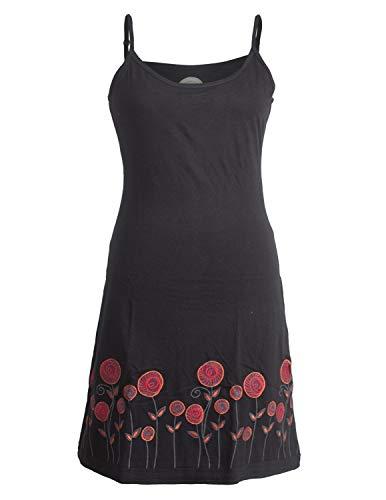 Vishes - Alternative Bekleidung - Besticktes Rosen Baumwoll-Kleid mit verstellbaren Trägern schwarz 50
