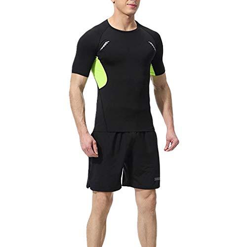 Yowablo Oberteile Hosen Sport Enger Anzug Herren Elastic Fitness Kurzes T-Shirt Schnelltrocknend (M,3Grün)