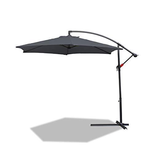 BMOT - Parasol Excéntrico de Jardín, Mástil de Aluminio con Manivela, Protección UV 40+, Niveles de Inclinación, Ø 300 cm